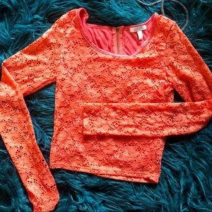 dELiA*s Melon Lace Crop Top